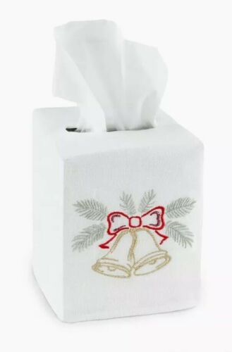 Sferra Christmas Holiday Bells Tissue Box Cover New
