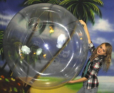 "72"" Inflatable CRYSTAL CLEAR Heavy Duty BEACH BALL Glossy Vinyl Pool Toy Bubble"