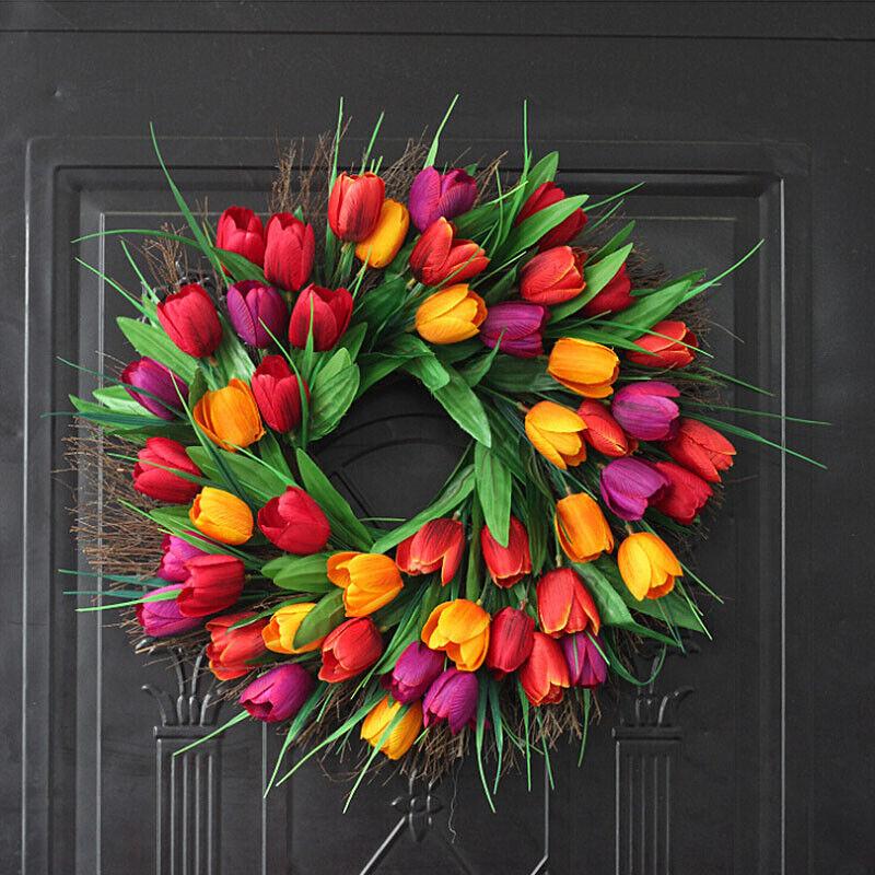 Artificial tulip wreath for front door decoration