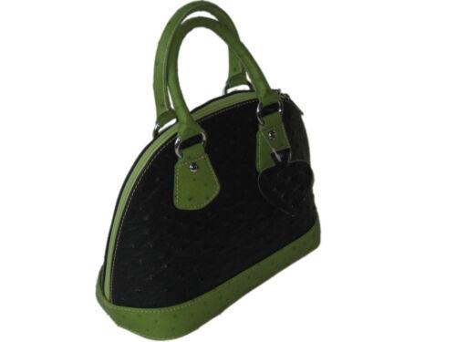 Giglio Small Handmade Italian Ostrich Effect Leather Bowling Style Grab Handbag