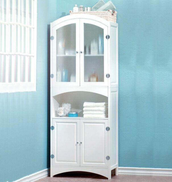 Tall Linen Cabinet White Wood Cupboard Kitchen Bathroom Storage Shelves Bath For Sale Online