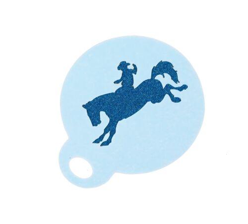 Rodeo Cow-boy Café Duster Mylar Stencil Environ 8.5 cm couche lavable