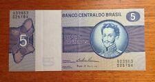 Banco Central Do Brasil 5 Cinco Cruzeiros Bank Note