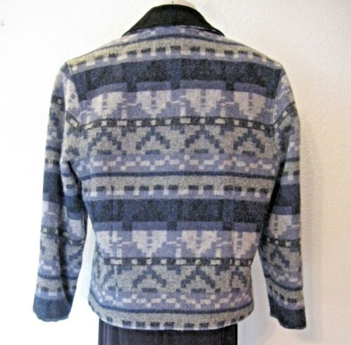 Læder Print Uld Blend Woolrich Lille Grå Blå Jacket Størrelse Sort Trim Western ggRvTq