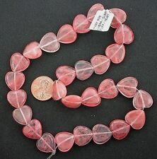 15mm Heart Gemstone Gem Stone Cherry Quartz Beads 15 Inch Strand