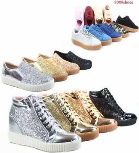 a513231b106 Women's Fashion Stylish Glitter Lace Up Platform Sneakers Shoes Size ...