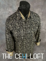 Mens Western Fashion Snap-up Shirt Black With Khaki Florals Roar With Class