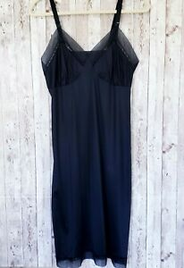 Vintage-Lorraine-36-Full-Slip-Black-Sheer-Lace-Trim-Adjustable-Straps-Nylon