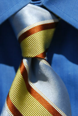 Ted Baker Silver, Gold, Brown, & White Striped Silk Tie Big & Tall - $105.00