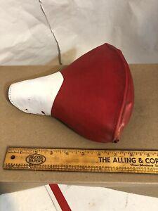 Vintage-Troxel-Mesinger-Bicycle-Saddle-Seat-Red-amp-White