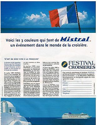 Other Breweriana Breweriana, Beer Publicité Advertising 1998 Le Paquebot Mistral Festival Croisières