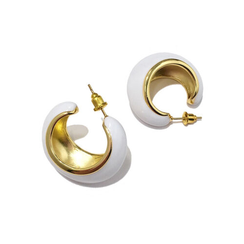 Earrings Creole Ring Boat Large Enamel White Retro Gold Plated 18K P2