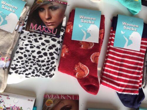 50 pairs ladies women luxury socks coloured design cotton blended size 4-7 FGDBH