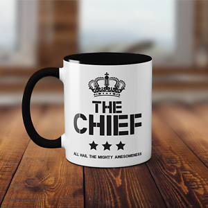 The Chief Printed Ceramic Black Handle Mug Funny Father/'s Day Gift Present