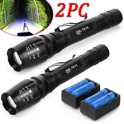 Tactical 20000LM T6 LED 18650 Rechargeable Zoomable Police Flashlight Torch