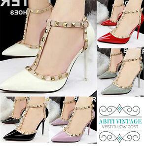 scarpe-con-borchie-tacco-punta-donna-gioiello-rosse-nere-bianche-rosa-verdi