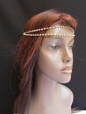 WOMEN SILVER HEAD METAL CHAIN FASHION JEWELRY TWO FOREHEAD STRANDS RHINESTONES
