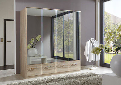 Qmax 'Imagine' Range. German Made Bedroom Furniture. Light Oak & Mirrored.