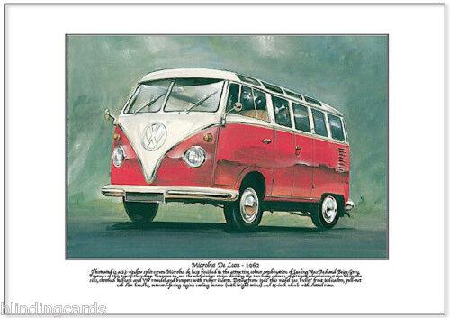VOLKSWAGEN MICROBUS DELUXE TYPE 2 Art Print A4 size - VW Transporter camper van
