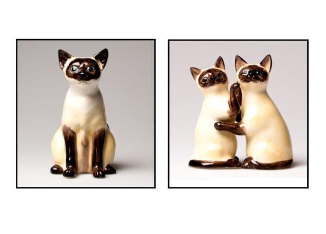 SIAMESE CAT FELINE CERAMIC MONEY COIN BOX SALT & PEPPER SHAKER HOME RETRO GIFT