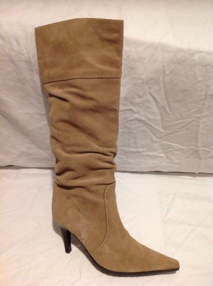 Gastone Lucioli Brown Knee High Suede Boots Size 36.5