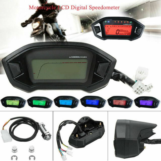 YOUNGFLY Universal 12V Motorcycle Speedometer Backlight LCD Digital Colorful Tachometer Odometer