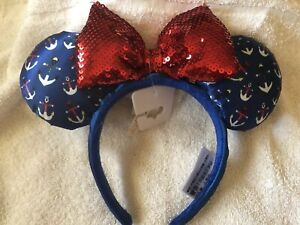 Bow Minnie Ears Mickey Mouse Cruise Line Anchor  Disney Parks Sequins Headband