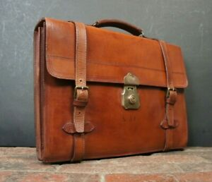 Beautiful-Vintage-English-Belted-Executives-Briefcase-Satchel