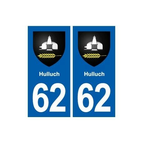 62 Hulluch logo autocollant plaque stickers ville -  Angles : droits