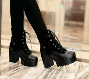 Women-039-s-Punk-Faux-Suede-Chunky-Heel-Lace-Up-Ankle-High-Top-Boots-Shoes-Platform