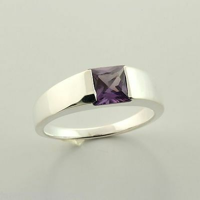 CLEARANCE Sterling Alexandrite Lab Sapphire 6mm Princess Cut Ring