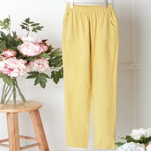 Women Cotton Linen Pants Elastic Waist Harem Trouser Casual Pocket Vintage Solid