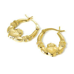 Gold-Plated-925-Sterling-Silver-Claddagh-Creole-Hoop-Earrings-Ireland-Irish