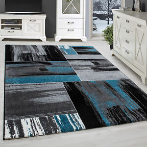 Tapis Moderne Splash Design Salon Abstrait Carreaux Brosse Noir Gris ...