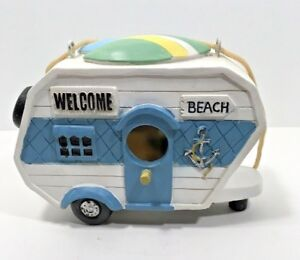 Resin-Beach-Trailer-Birdhouse-9-Inches-Long-Blue-Vintage-Retro-Camper-Anchor