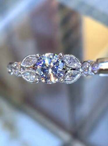 2Ct Round Cut Moissanite Vintage Solitaire Engagement Ring 14K White Gold Finish