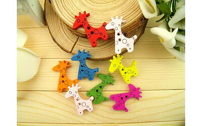 20/50/100pcs Mixed Colored Giraffe Wood Wooden Button Sewing Scrapbook DIY 20mm