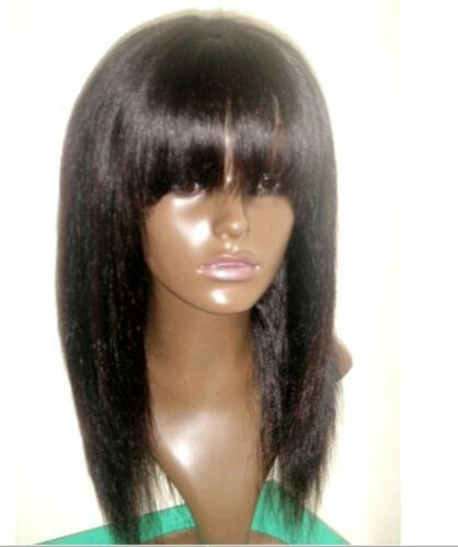 "12"" 1# 100% Indian Remy Human Hair Full Lace /Lace Front Wig with Bang /Fringe"