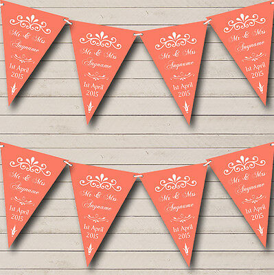 Shabby Chic Vintage Wood Red Personalised Wedding Bunting