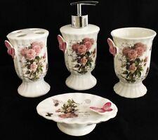 DEMATEX  4 teilig Bad set Seifenspender Zahbürstenbehälter Vintage Rosa Keramik