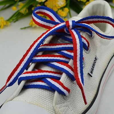 2 Pairs Blue-White-Blue Tricolour Flat Shoelace Athletic Sneaker Colorful Sport