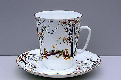 "Cup and Saucer ""Leaf fall"", bone china, LOMONOSOV IMPERIAL PORCELAIN, Russia"