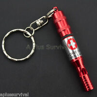 Red Keychain Whistle With Pill Case - Emergency Medications & Survival Kit Items