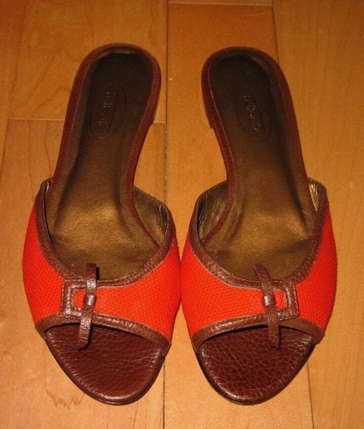 Talbots Slide Wms Cute Red /Brown Slide Talbots Flat Sandals 5.5 dc6c2b