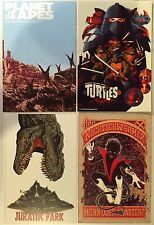 MONDO Cards COMIC-CON Postcard SET - Jurassic Park TMNT Planet Of Apes + LOGAN