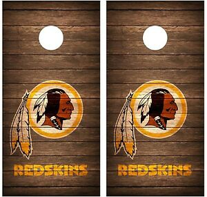 Washington Redskins Vintage Wood Cornhole Board Decal Wrap