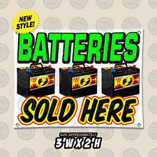 Batteries Sold Here Auto Repair Outdoor Indoor Wall Banner Open Sign Shop 2x3