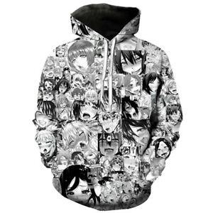 Men Women Fashion Anime Ahegao Funny 3D Print Pullover Cool Hoodie Sweatshirts