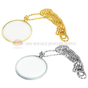 36 Magnifiying Necklace Gold & Silver Tone 3x, 5x Magnifier Jewelry Hobby Lens