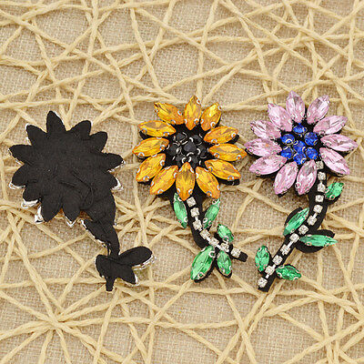 2 Pcs DIY Cute Beaded Rhinestone Flower Appliques Patches Sew on For Clothes Bag